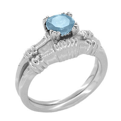 Art Deco Hearts and Clovers 1 Carat Solitaire Sky Blue Topaz Promise Ring in Sterling Silver - Item: SSR163BT - Image: 2