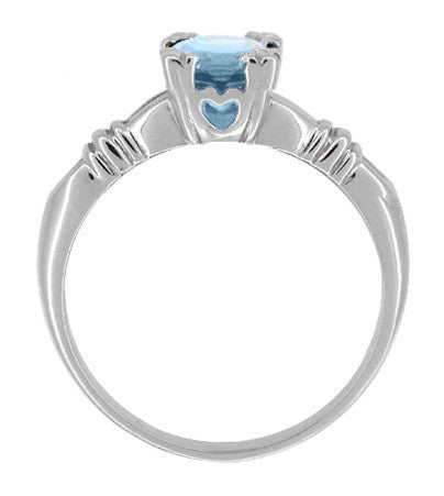 Art Deco Hearts and Clovers 1 Carat Solitaire Sky Blue Topaz Promise Ring in Sterling Silver - Item: SSR163BT - Image: 1