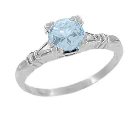 Art Deco Hearts and Clovers 1 Carat Solitaire Sky Blue Topaz Promise Ring in Sterling Silver