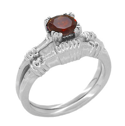 Art Deco Hearts and Clovers 1 Carat Almandine Garnet Solitaire Promise Ring in Sterling Silver - Item: SSR163G - Image: 2