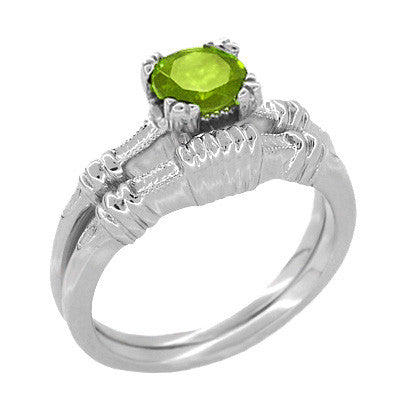 Art Deco Hearts and Clovers 1 Carat Peridot Solitaire Promise Ring in Sterling Silver - Item: SSR163P - Image: 2