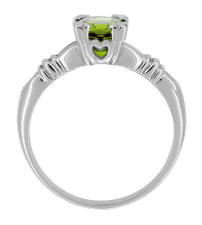Art Deco Hearts and Clovers 1 Carat Peridot Solitaire Promise Ring in Sterling Silver - Item: SSR163P - Image: 1