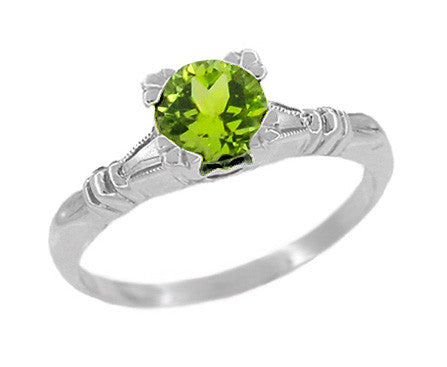 Art Deco Hearts and Clovers 1 Carat Peridot Solitaire Promise Ring in Sterling Silver
