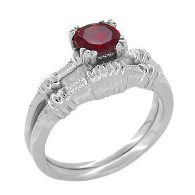 Art Deco Hearts and Clovers Solitaire Ruby Promise Ring in Sterling Silver - Item: SSR163R - Image: 2