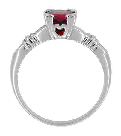 Art Deco Hearts and Clovers Solitaire Ruby Promise Ring in Sterling Silver - Item: SSR163R - Image: 1