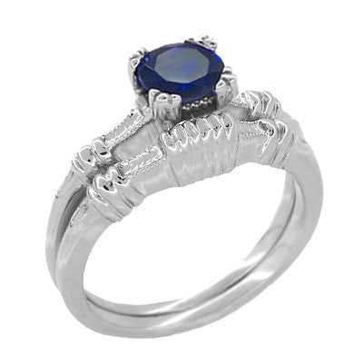Art Deco Hearts and Clovers 1 Carat Blue Sapphire Promise Ring Solitaire in Sterling Silver - Item: SSR163S - Image: 2