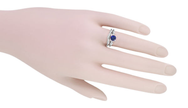 Art Deco Hearts and Clovers 1 Carat Blue Sapphire Promise Ring Solitaire in Sterling Silver - Item: SSR163S - Image: 4