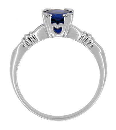 Art Deco Hearts and Clovers 1 Carat Blue Sapphire Promise Ring Solitaire in Sterling Silver - Item: SSR163S - Image: 1