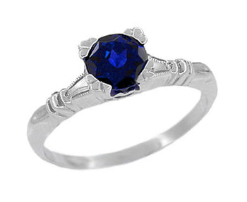 Art Deco Hearts and Clovers 1 Carat Blue Sapphire Promise Ring Solitaire in Sterling Silver