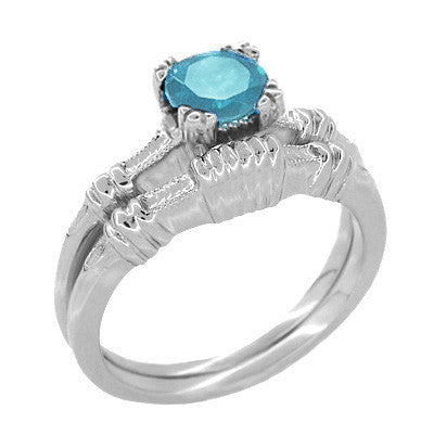 Art Deco Hearts and Clovers 1 Carat Swiss Blue Topaz Solitaire Promise Ring in Sterling Silver - Item: SSR163WBT - Image: 2