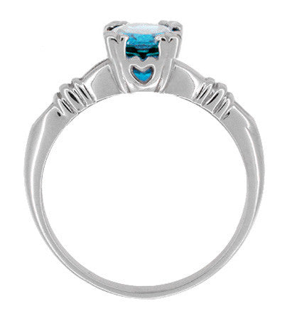Art Deco Hearts and Clovers 1 Carat Swiss Blue Topaz Solitaire Promise Ring in Sterling Silver - Item: SSR163WBT - Image: 1