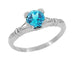 Art Deco Hearts and Clovers 1 Carat Swiss Blue Topaz Solitaire Promise Ring in Sterling Silver