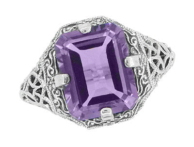 Art Deco Flowers and Leaves Emerald Cut Lilac Amethyst Filigree Ring in Sterling Silver - Item: SSR16A - Image: 2
