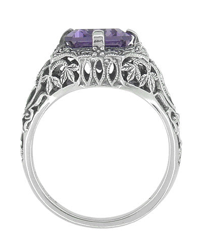 Art Deco Flowers and Leaves Emerald Cut Lilac Amethyst Filigree Ring in Sterling Silver - Item: SSR16A - Image: 1