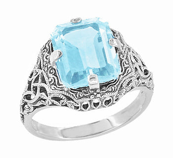 Art Deco Rectangular Blue Topaz Filigree Ring in Sterling Silver