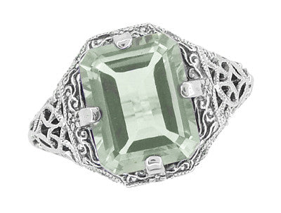 Art Deco Flowers and Leaves Emerald Cut Prasiolite ( Green Amethyst ) Filigree Ring in Sterling Silver - Item: SSR16GA - Image: 2