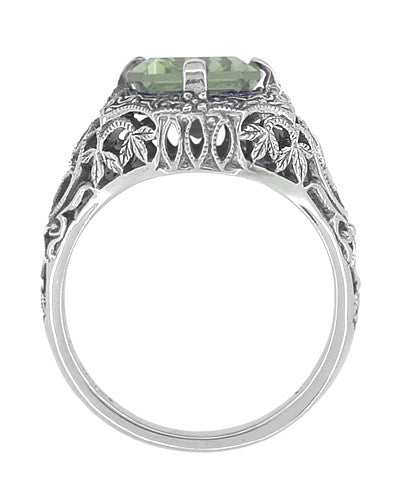 Art Deco Flowers and Leaves Emerald Cut Prasiolite ( Green Amethyst ) Filigree Ring in Sterling Silver - Item: SSR16GA - Image: 1