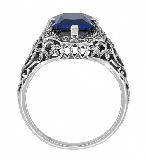 Art Deco Flowers and Leaves Lab Created Blue Sapphire Filigree Ring in Sterling Silver - 3.75 Carats - Item: SSR16S - Image: 2