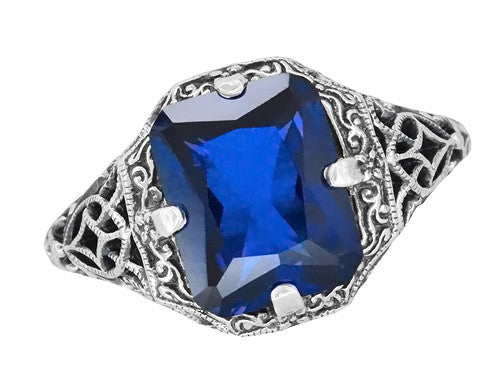 Vintage Radiant Cut Blue Sapphire Filigree Ring in Sterling Silver