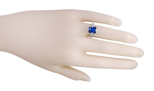 Art Deco Flowers and Leaves Lab Created Blue Sapphire Filigree Ring in Sterling Silver - 3.75 Carats - Item: SSR16S - Image: 4