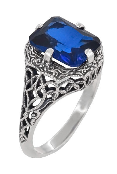 Art Deco Flowers and Leaves Lab Created Blue Sapphire Filigree Ring in Sterling Silver - 3.75 Carats - Item: SSR16S - Image: 1