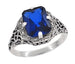 Art Deco Flowers and Leaves Lab Created Blue Sapphire Filigree Ring in Sterling Silver - 3.75 Carats