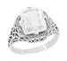 Art Deco White Topaz Filigree Ring in Sterling Silver