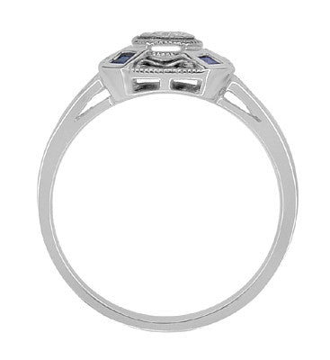 Art Deco Square Sapphires and Diamond Engraved Ring in Sterling Silver - Item: SSR17 - Image: 2