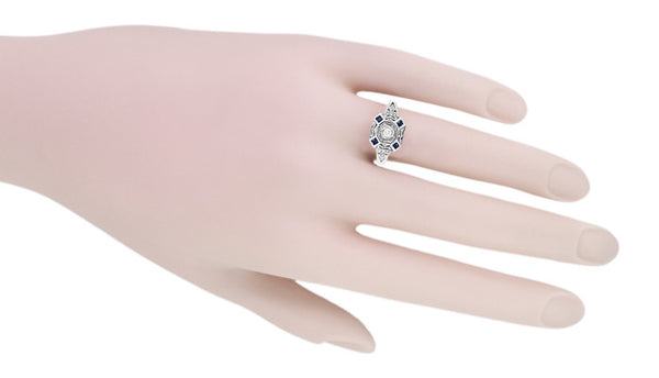 Art Deco Square Sapphires and Diamond Engraved Ring in Sterling Silver - Item: SSR17 - Image: 3