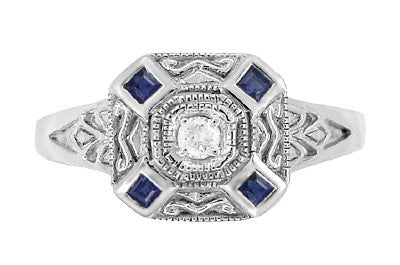 Art Deco Square Sapphires and Diamond Engraved Ring in Sterling Silver - Item: SSR17 - Image: 1