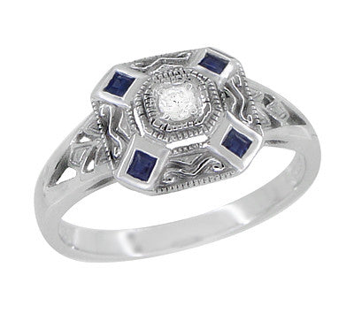 Art Deco Square Blue Sapphires and White Sapphire Engraved Promise Ring in Sterling Silver
