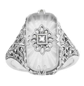 Art Deco Vintage Filigree Sun Ray Crystal and Diamond Right Hand Cocktail Ring in Sterling Silver