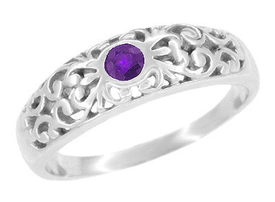Edwardian Filigree Amethyst Band Ring in Sterling Silver