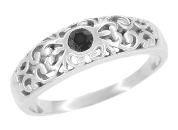 Art Deco Scroll Filigree Black Diamond Promise Ring in Sterling Silver