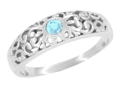 Filigree Sky Blue Topaz Band Ring in Sterling Silver | Art Deco