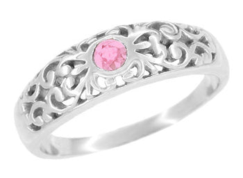 Art Deco Pink Sapphire Band in Sterling Silver Filigree