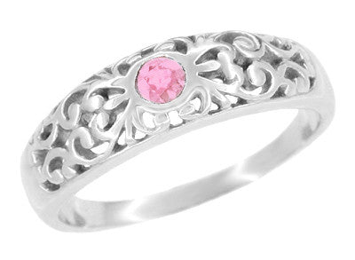 Art Deco Pink Sapphire Filigree Band in Sterling Silver