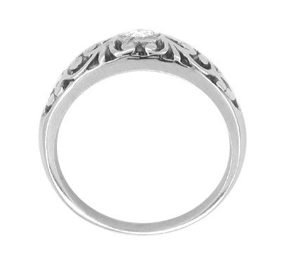 Filigree White Sapphire Band in Sterling Silver - Item: SSR197WS - Image: 1