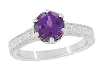 Art Deco Filigree Amethyst Crown Promise Ring in Sterling Silver With Carved Scroll Engraving