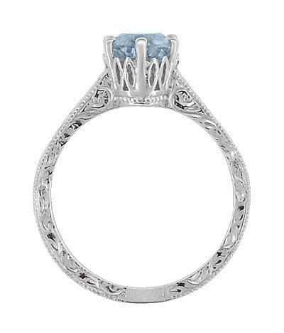 Art Deco Filigree Scrolls Sky Blue Topaz Crown Promise Ring in Sterling Silver - Item: SSR199BT - Image: 4