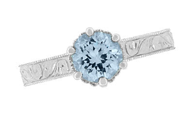 Art Deco Filigree Scrolls Sky Blue Topaz Crown Promise Ring in Sterling Silver - Item: SSR199BT - Image: 5