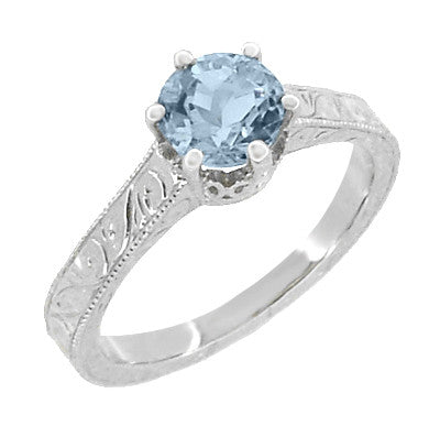 Art Deco Filigree Scrolls Sky Blue Topaz Crown Promise Ring in Sterling Silver - Item: SSR199BT - Image: 1