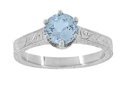 Art Deco Filigree Scrolls Sky Blue Topaz Crown Promise Ring in Sterling Silver