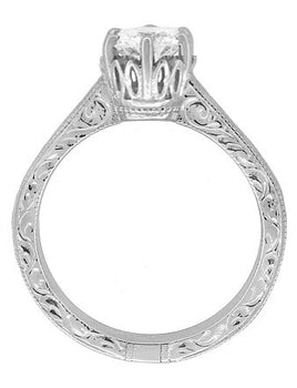Art Deco Crown Filigree Scrolls Cubic Zirconia Solitaire Ring in Sterling Silver