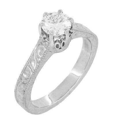 Art Deco Crown Filigree Scrolls Cubic Zirconia Solitaire Ring in Sterling Silver - Item: SSR199CZ - Image: 2