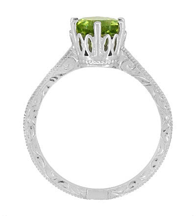 Art Deco Crown Filigree Scrolls Peridot Promise Ring in Sterling Silver - Item: SSR199PER - Image: 4