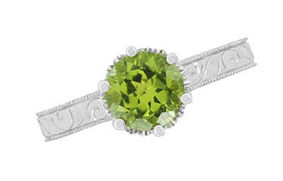 Art Deco Crown Filigree Scrolls Peridot Promise Ring in Sterling Silver - Item: SSR199PER - Image: 5