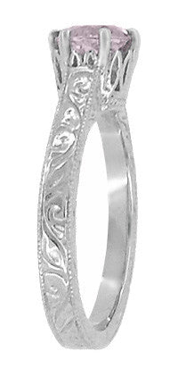 Art Deco Crown Filigree Scrolls Rose de France Promise Ring in Sterling Silver - Item: SSR199RF - Image: 2