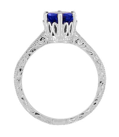 Crown Filigree Scrolls Art Deco Lab Created Blue Sapphire Promise Ring in Sterling Silver - Item: SSR199S - Image: 3