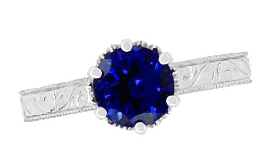 Crown Filigree Scrolls Art Deco Lab Created Blue Sapphire Promise Ring in Sterling Silver - Item: SSR199S - Image: 4